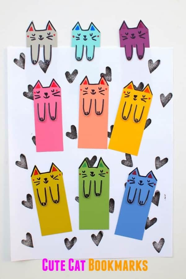 CUTE CAT DIY BOOKMARKS FROM PAINT CHIPS