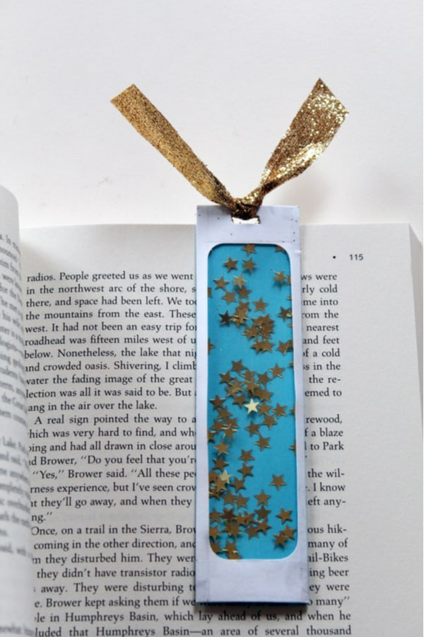 Confetti-filled bookmark