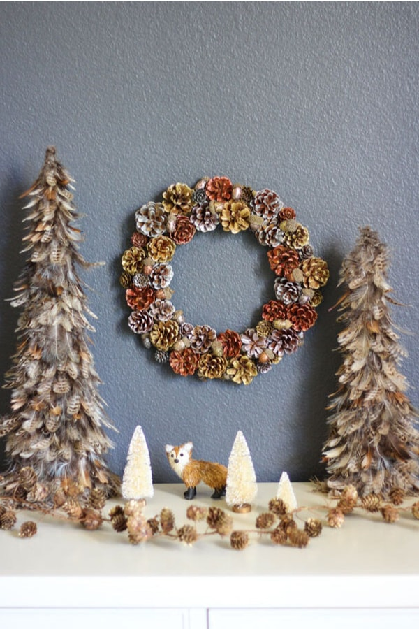 DIY Metallic Pinecone and Acorn Wreath