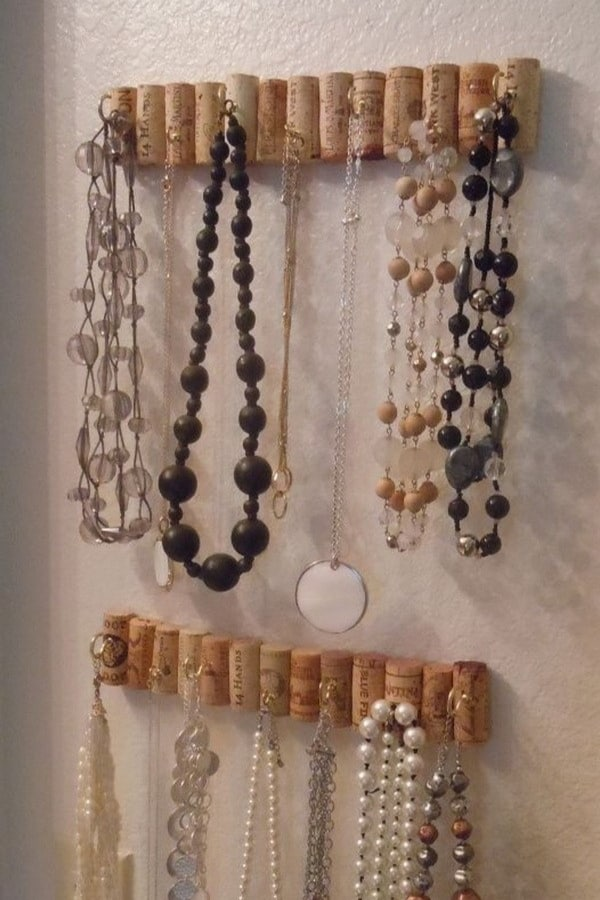 Wine Cork Hooks For Jewelry Storage