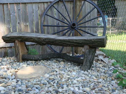rustic oak log garden bench