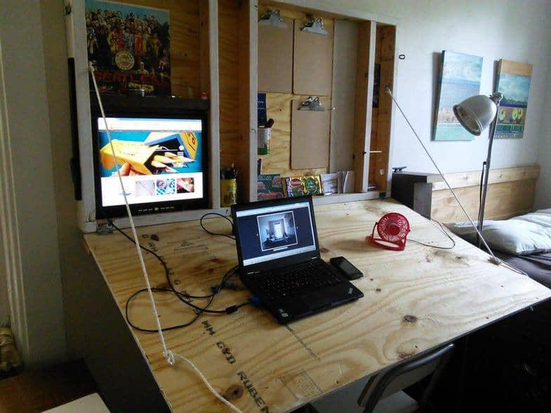 DIY Hideaway Drafting Table