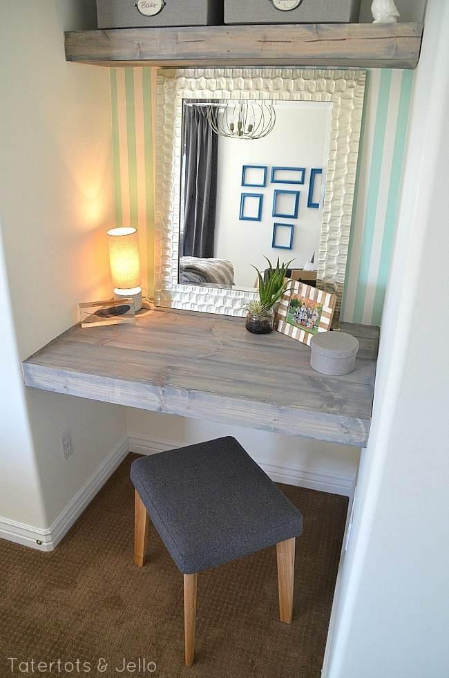 DIY Bedroom Floating Desk