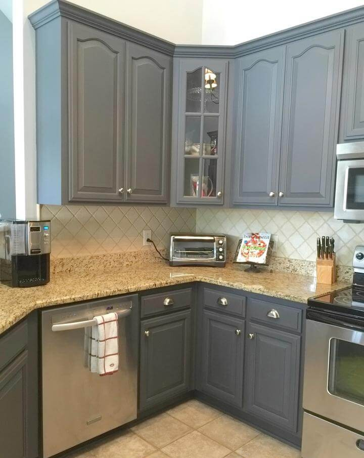 1. Well Finished Grey Kitchen Cabinet