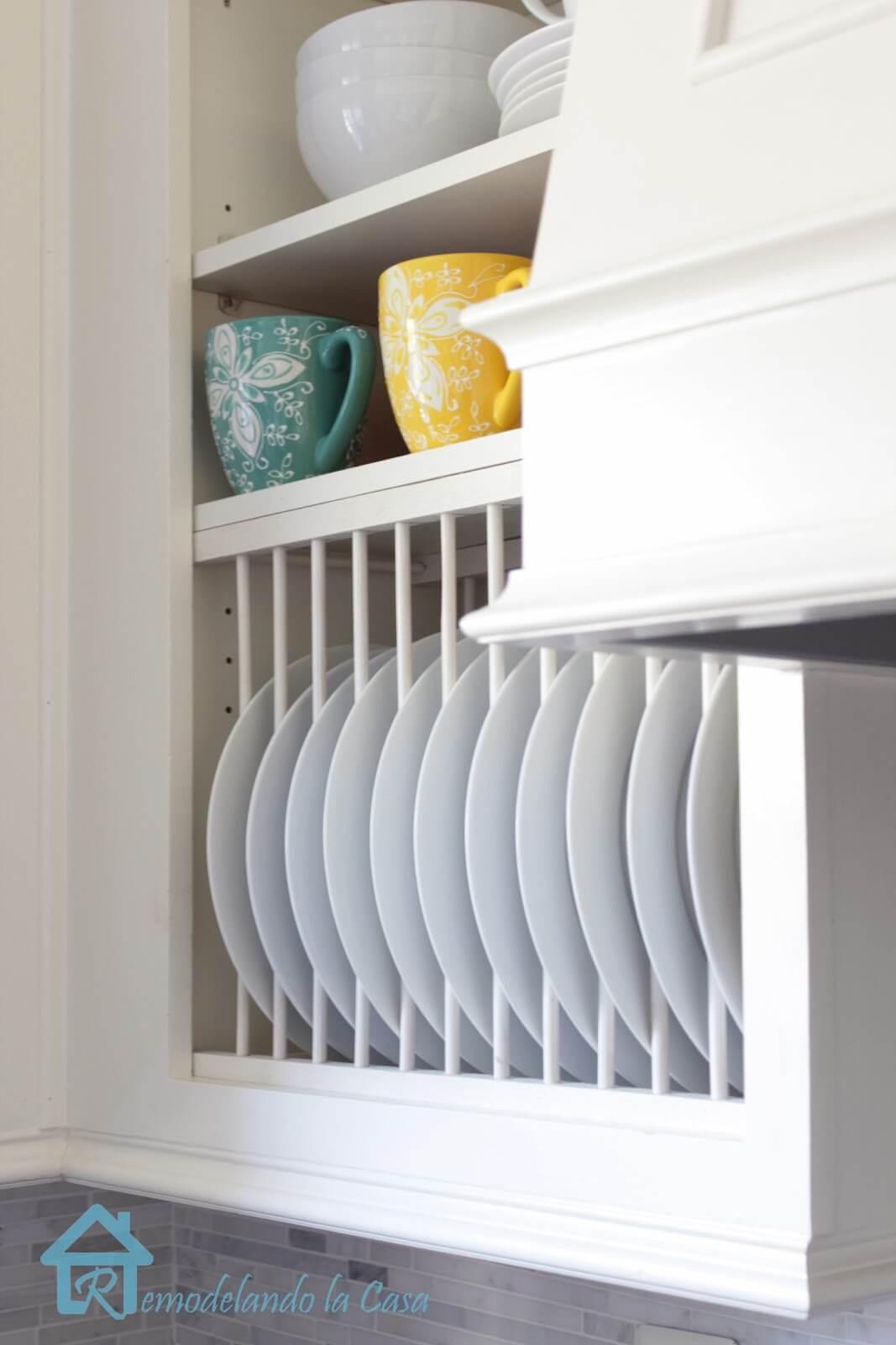 11. DIY Cabinet Plate Rack