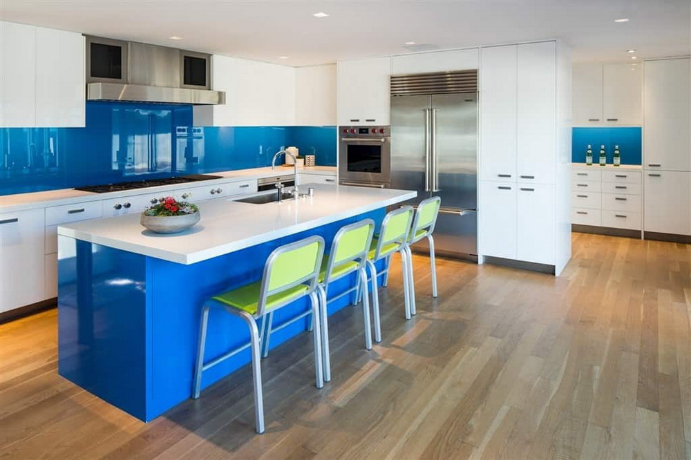16. Bright and BLUE ISLAND KITCHEN