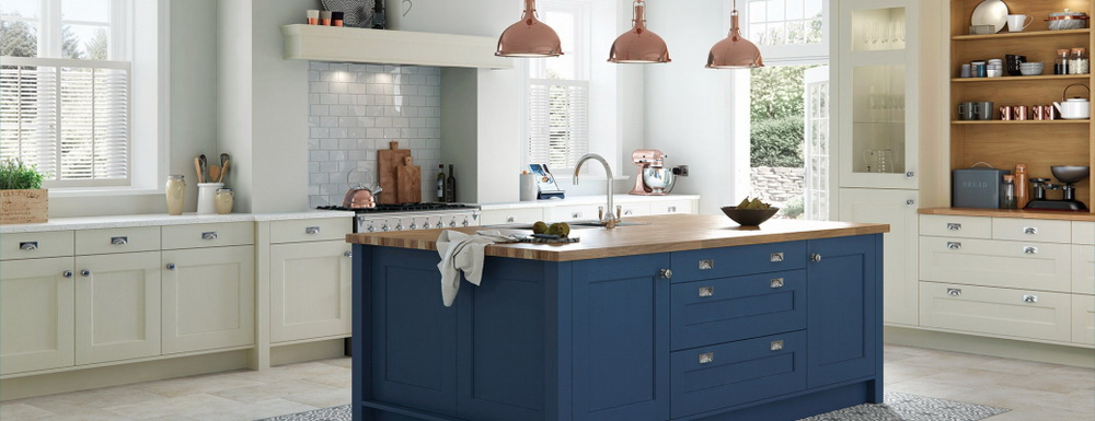 17. PAIR BLUE CABINETRY WITH CAMBRIA SUMMERHILL FOR A KITCHEN ISLAND