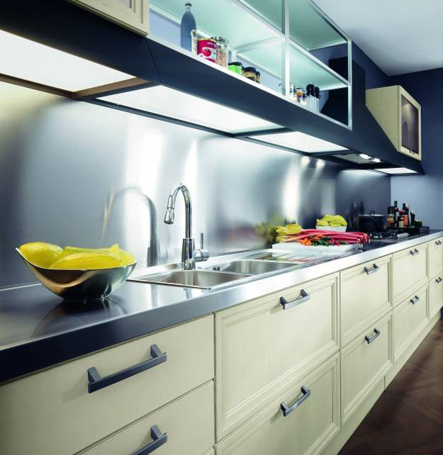 21. Contemporary Stainless Steel Kitchen Countertop Design
