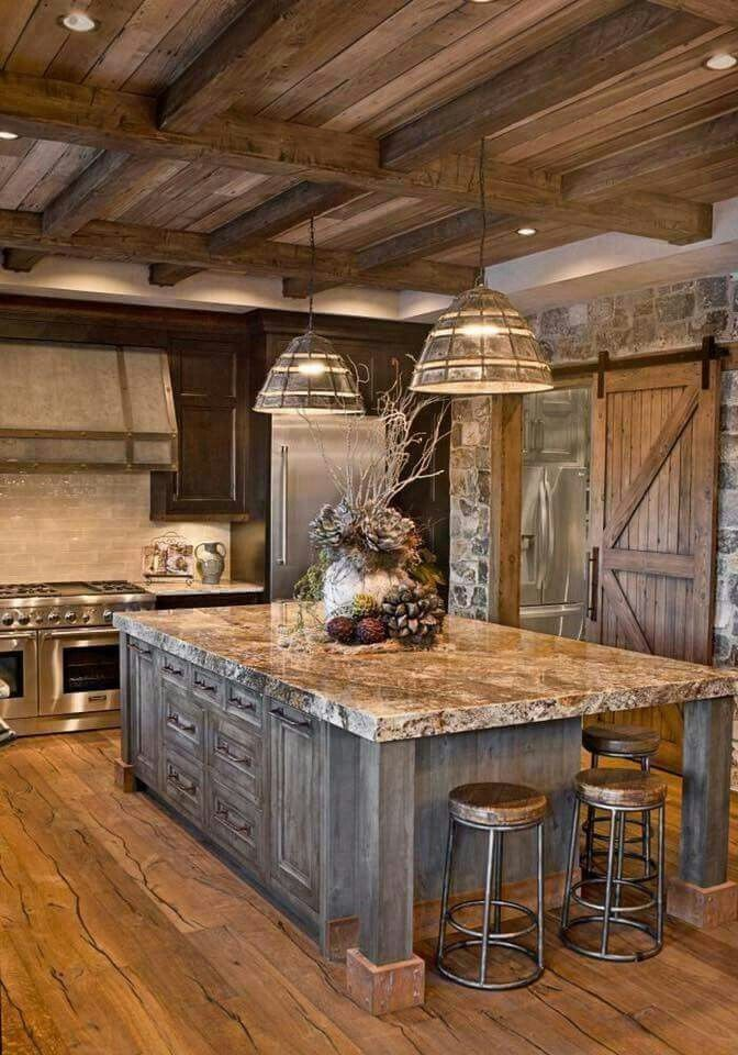 24.Rustic Kitchen with Granite Color