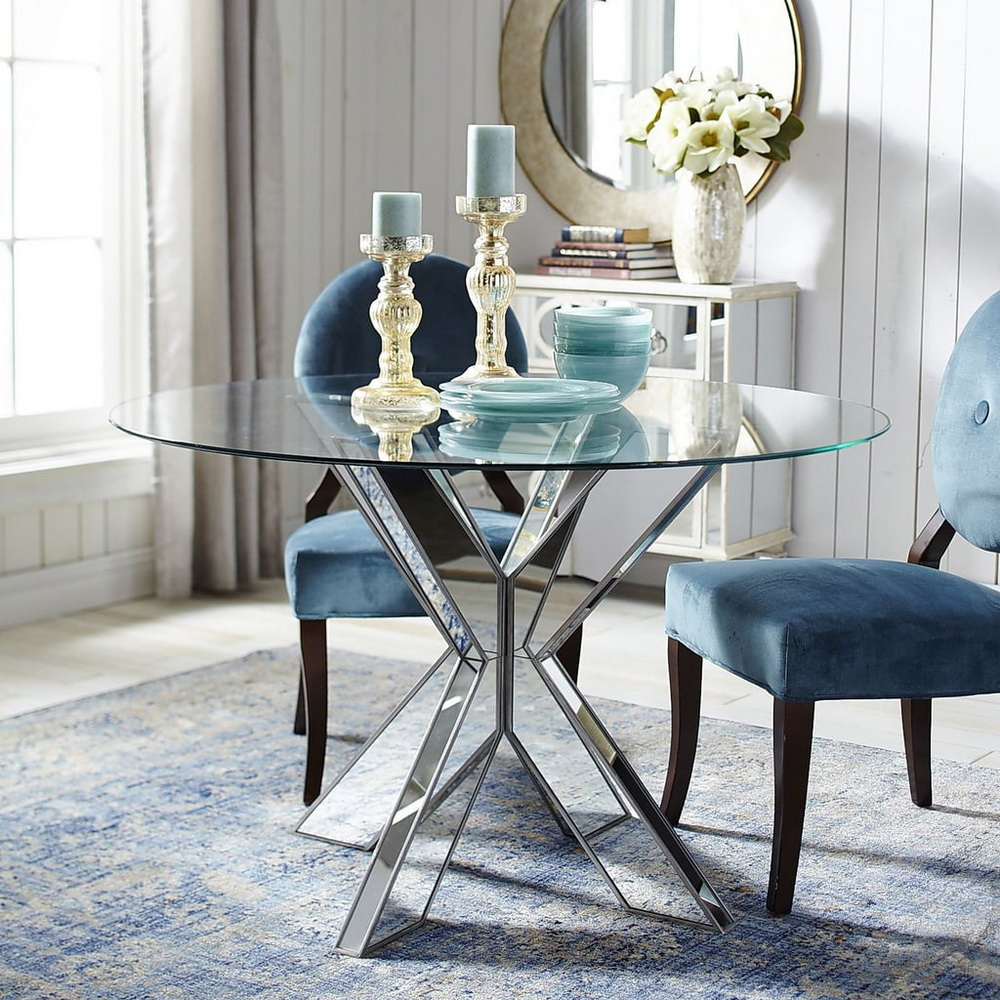 25. EMULATED DINING TABLE WITH TRANSPARENT BASES