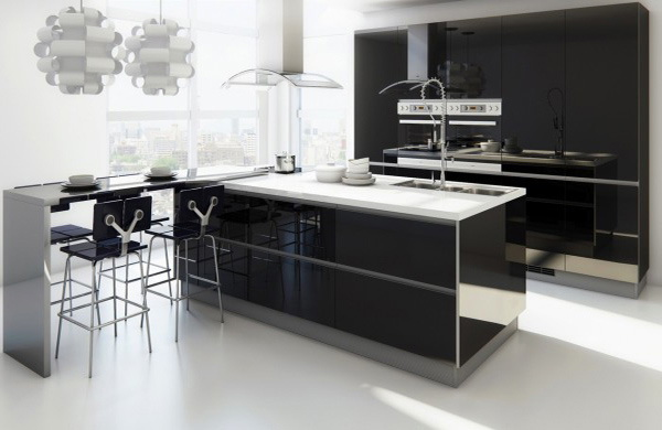 26. BLACK AND WHITE KITCHEN WITH A BAR