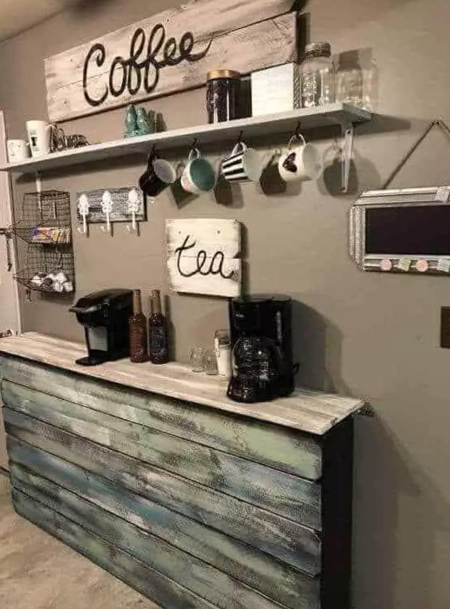 29. RUSTIC WOODEN SHELF COFFEE BAR