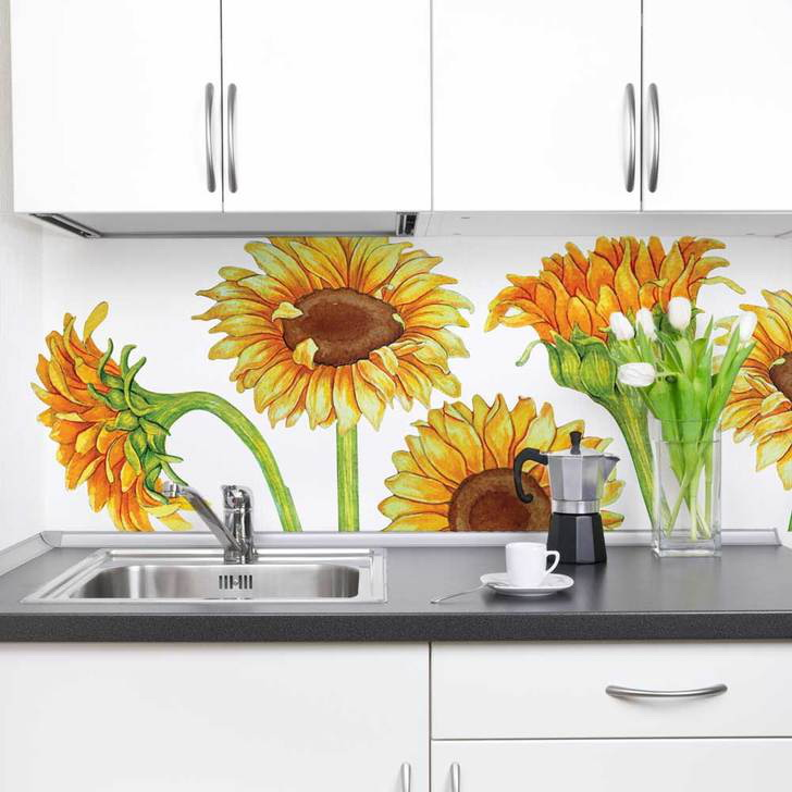 29. SUNFLOWER WATERCOLOR WALL STICKERS