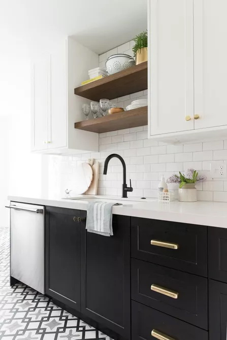 3. ADD OPEN SHELVING ABOVE THE SINK