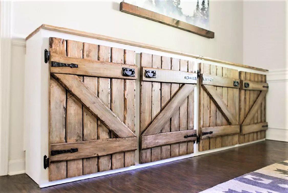 3. Artificial Barnwood Style Kitchen Cabinet Door