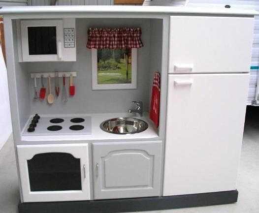 3. Handmade Play Kitchen Idea