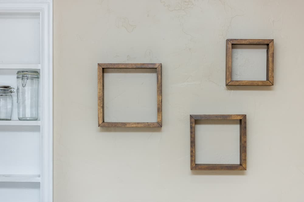 30. WOODEN FRAME' SHELVES