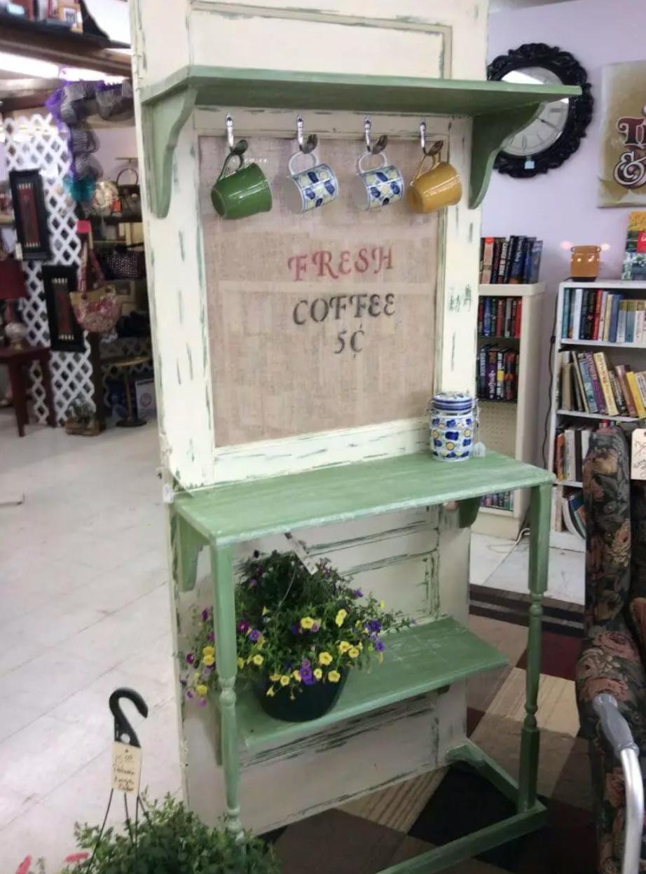 30.COFFEE BAR WITH REPURPOSED DOOR