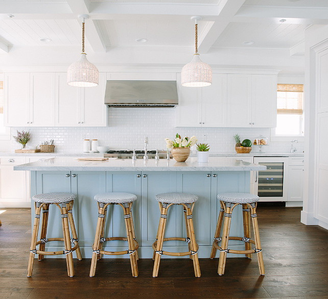 31. Inspiring White Kitchen with Light Blue Island