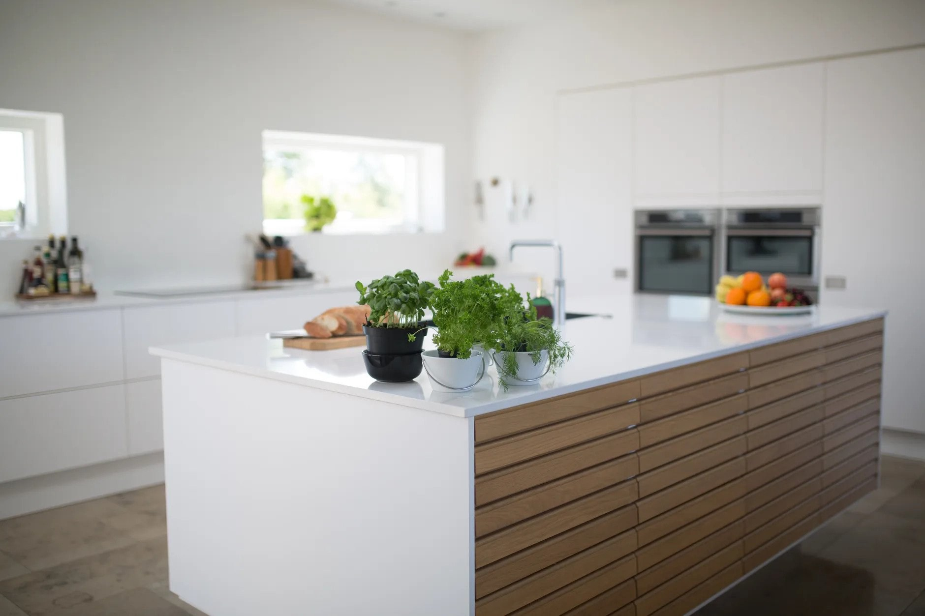 32. Kitchen Countertop With Homemade Herbs