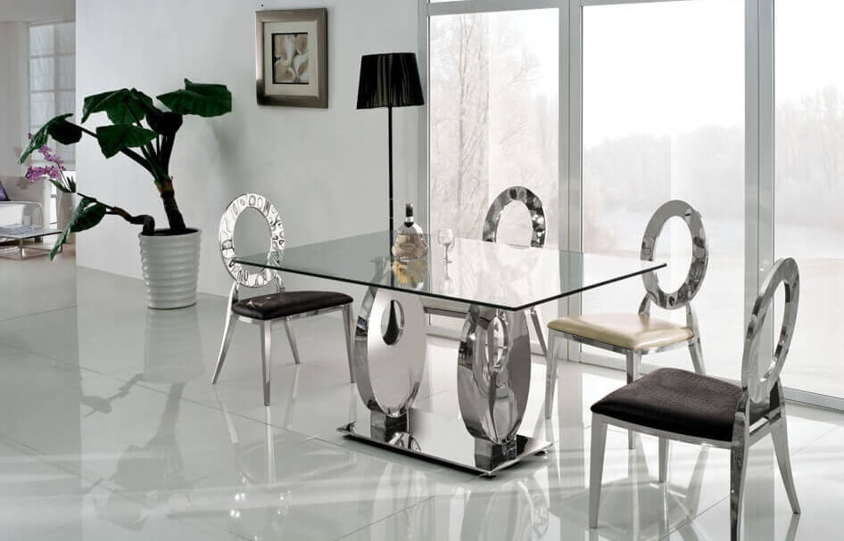 34. METALLIC DINING TABLE WITH GLASS TOP