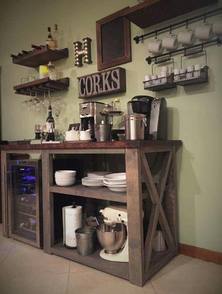 34.DIY TIMBER COFFEE BAR