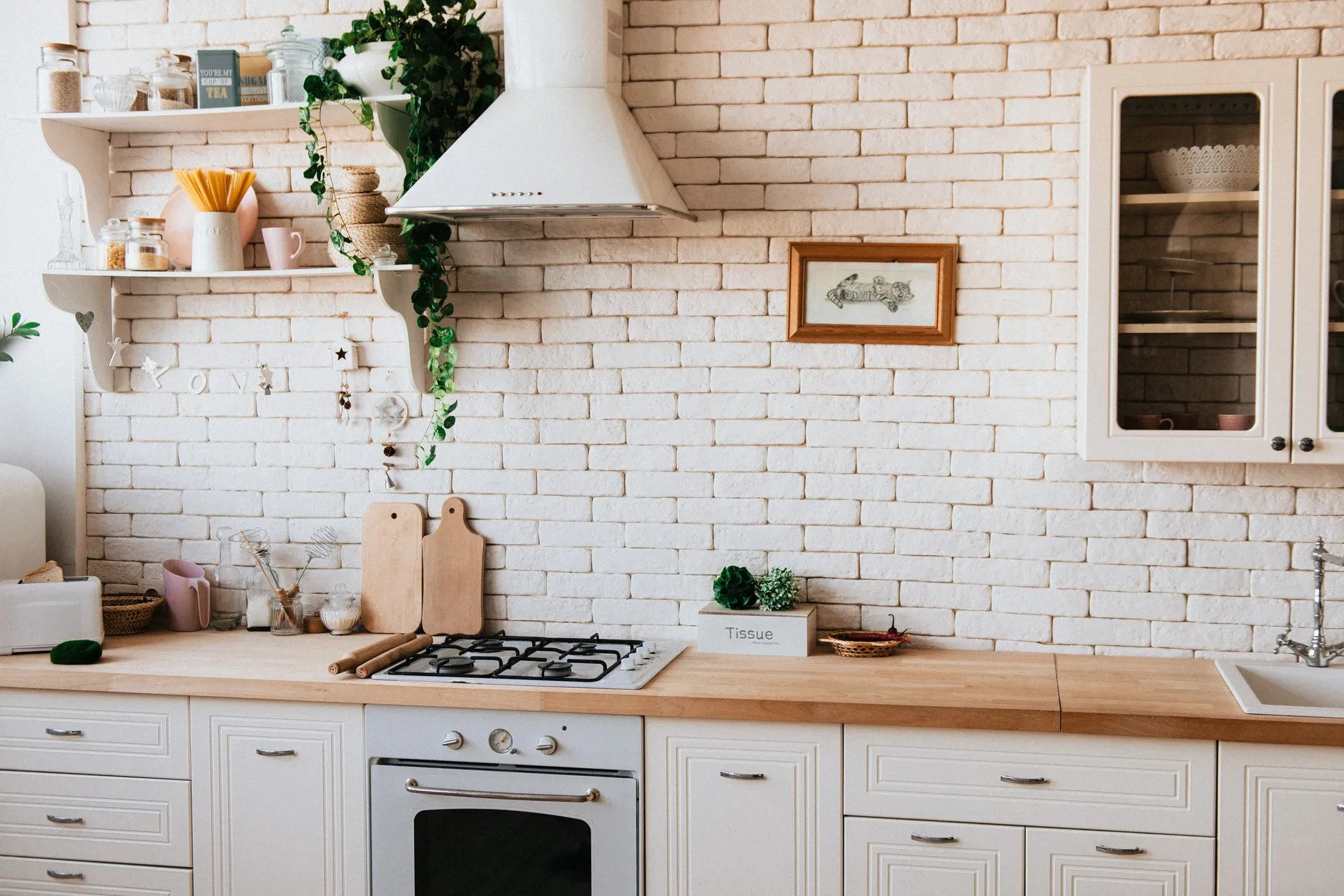 35. Modern Kitchen With Wooden Countertop Decor