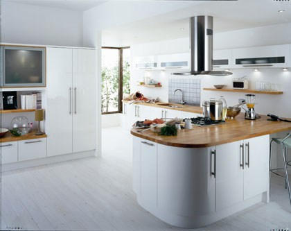 4. Avant White Peninsula With Laminated Wooden Top