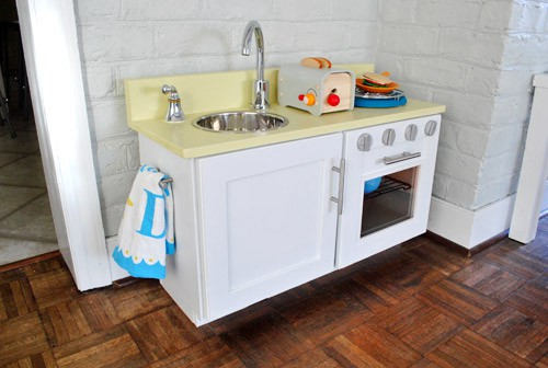 5. Play Kitchen Made From Cabinet
