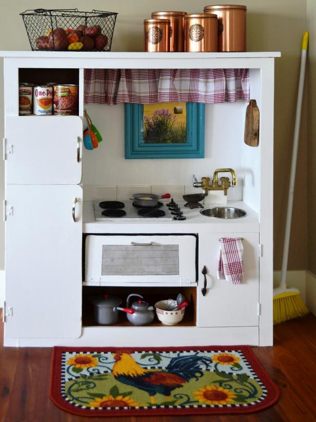 8. Decorated DIY Play Kitchen