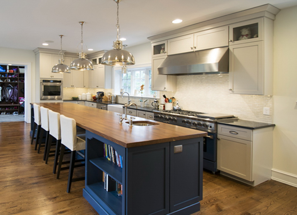 8.Blue Kitchen Island With Wood Countertop