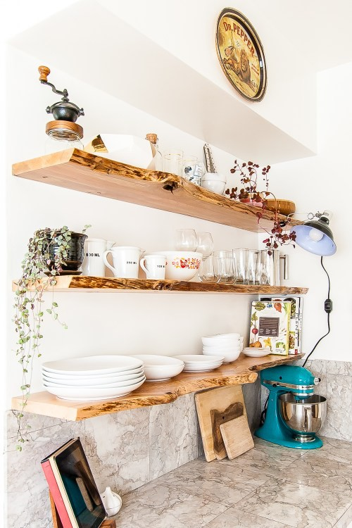 1. DIY Kitchen Floating Shelves