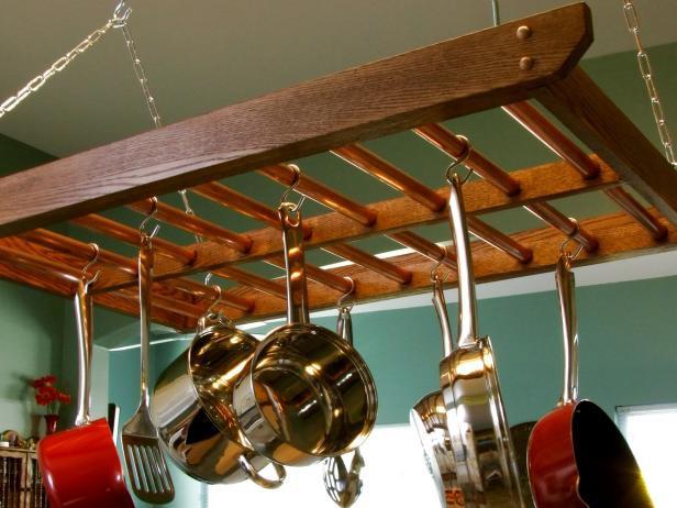 1. Hanging Pot Rack DIY