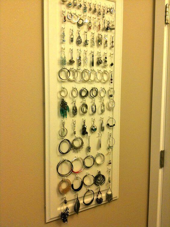 10. DIY Cabinet Door Earring Holder