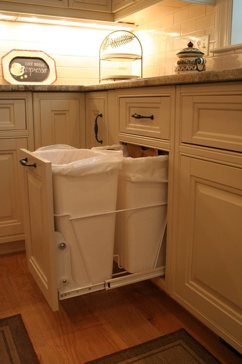 10. Kitchen Garbage Can Storage In Modern Cabinets