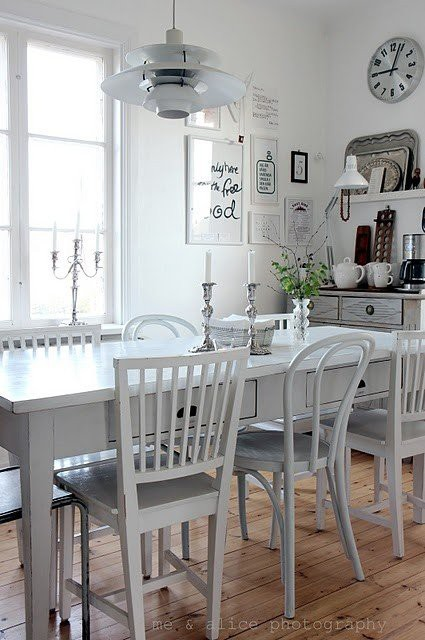 10. White Kitchen Table Set With Drawers