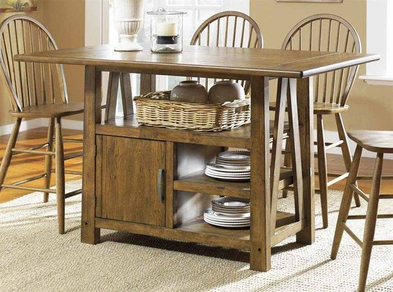 11. Retro Style Kitchen Table With Shelves