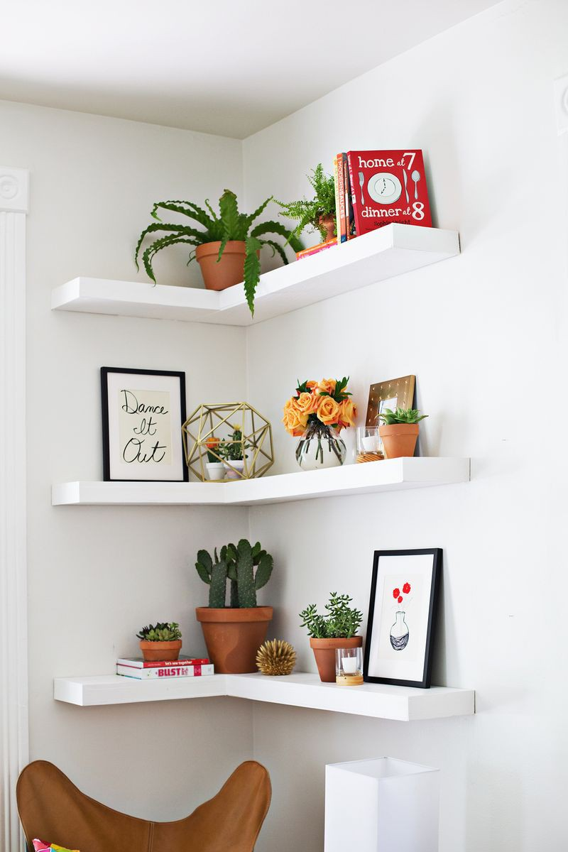 12. DIY Corner Floating Shelves