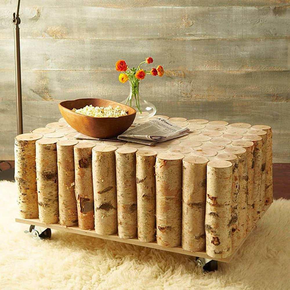 12. Log Coffee Table DIY