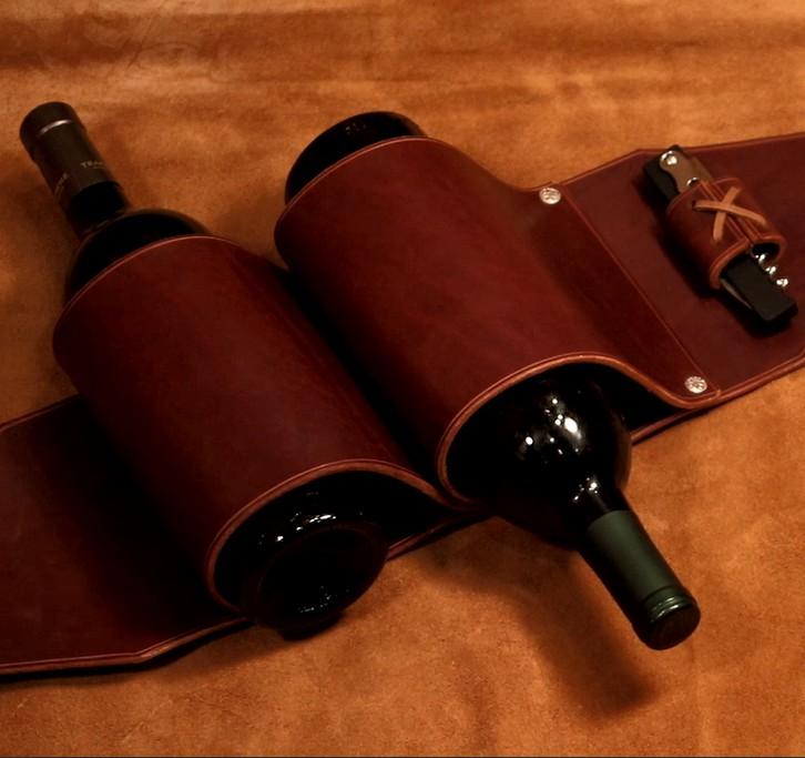 13. Cowboy Style Leather Wine Rack DIY