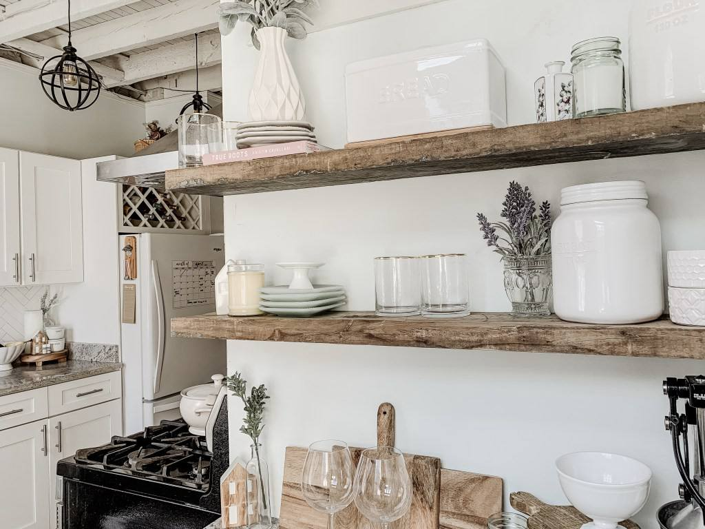 13. DIY Kitchen Floating Shelves