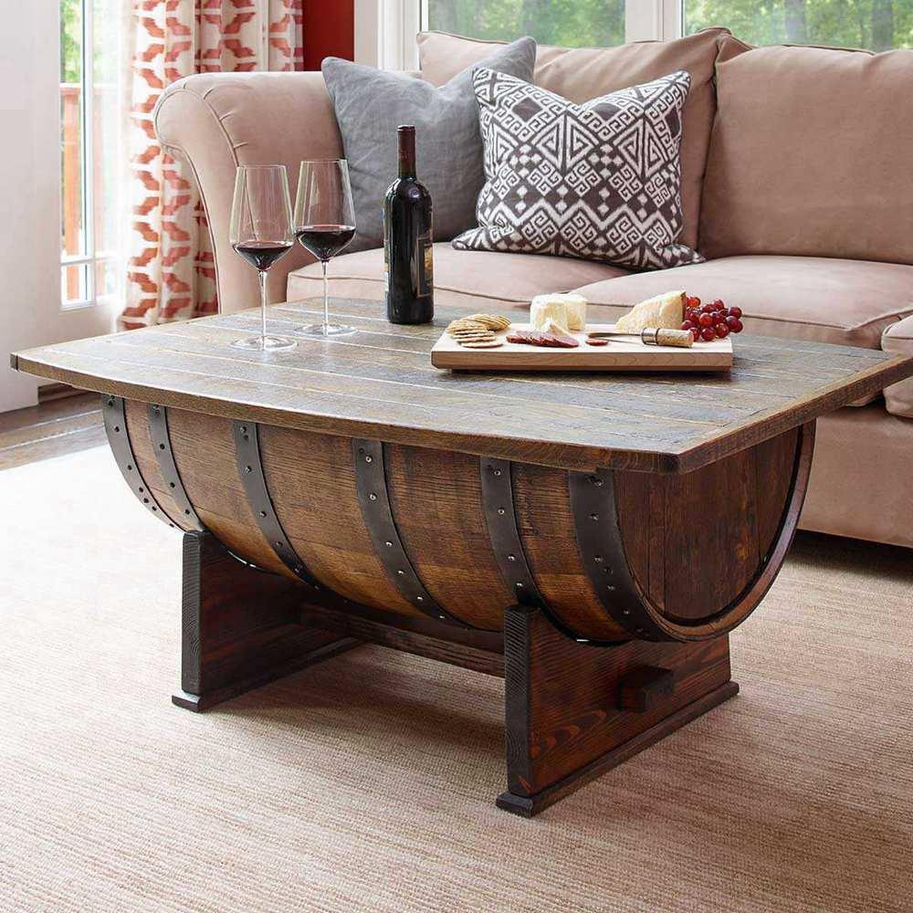 14. DIY Barrel Coffee Table