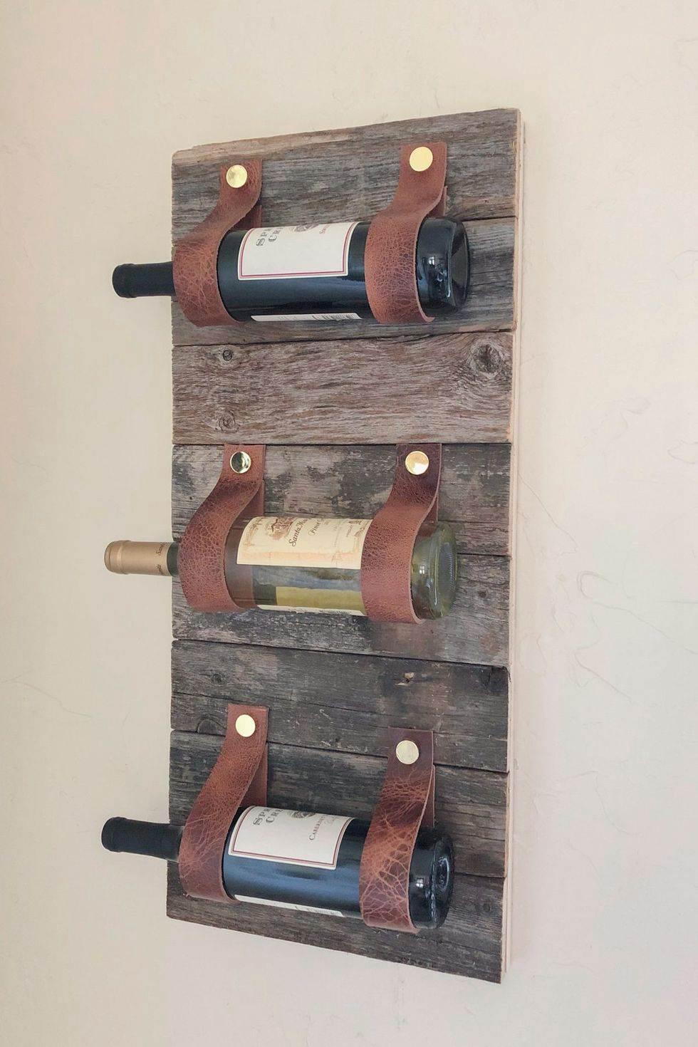 14. DIY Leather Wine Rack