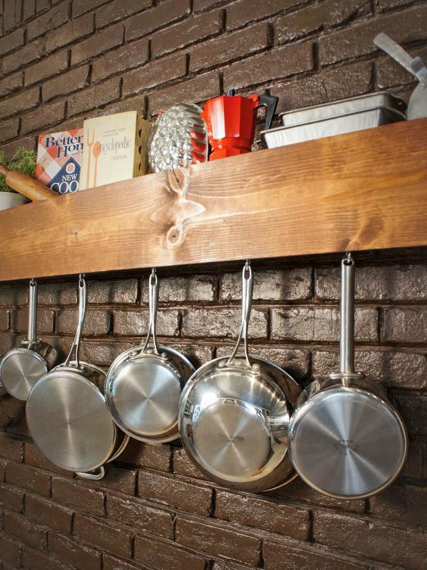 14. DIY Pot Rack And Storage Shelf