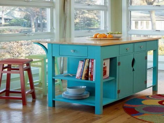 14. Ocean Blue Color Kitchen Table With Storage