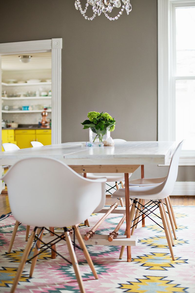 15. DIY Kitchen Dining Table With Copper Legs