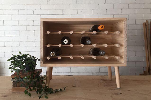 16. DIY Dowel Wine Rack