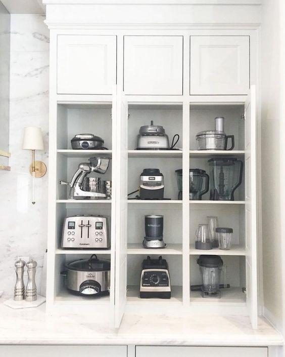 17. Meticulously Organized Kitchen Appliance Storage