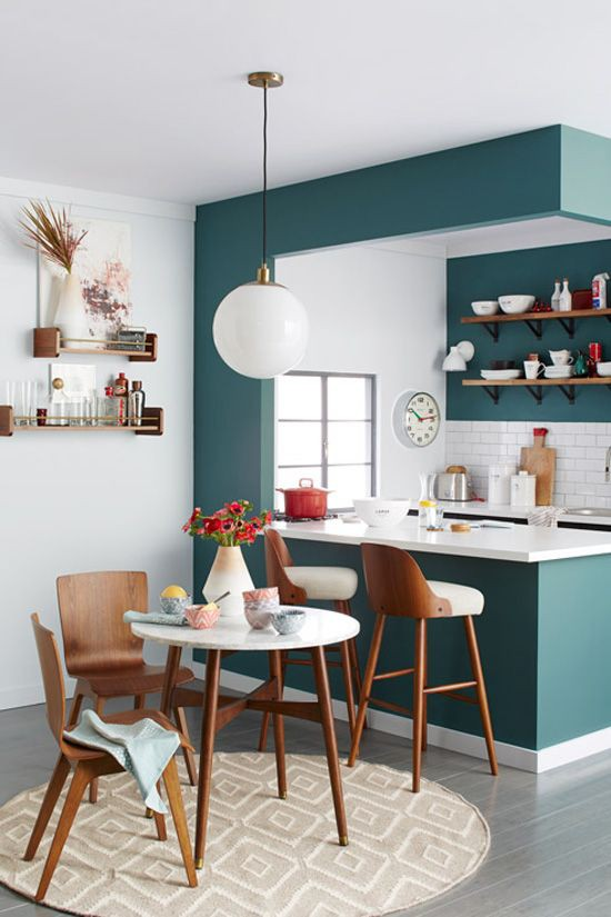 18. Modern House Teal Kitchen