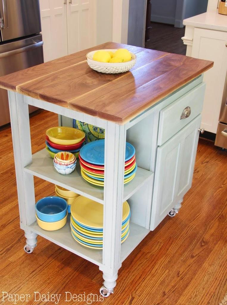19. DIY Kitchen Island Cart WIth Cup Holders